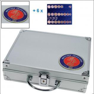 SAFE 231 - 6339 STANDARD ALU Münzkoffer SMART Frankreich 6 Tableaus 30 kompl. EURO Kursmünzensätze KMS 1 Cent - 2€ in Münzkapseln