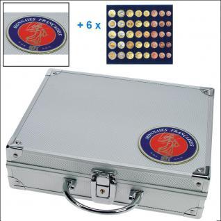SAFE 231 - 6340 STANDARD ALU Münzkoffer SMART Frankreich 6 Tableaus 30 x komplette EURO Kursmünzensätze KMS 1 Cent - 2 Euro Münzen