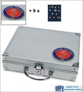 SAFE 231 - 6360 PLUS ALU Sammelkoffer SMART Frankreich 9 Tableaus ohne Einteilung Pins Buttons Anstecknadeln Militatia Broschen