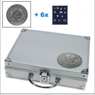 SAFE 234 STANDARD ALU Sammelkoffer DDR 6 Tableaus ohne Einteilung - Pins Buttons Orden Militaria Broschen