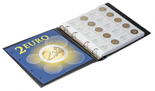 1 x LINDNER 1118-12 Vordruckblatt + K3 Karat Blatt - 2 EURO Gedenkmünzen chronologisch ab Griechenland 2013 - Portugal 2014 - Vorschau 2