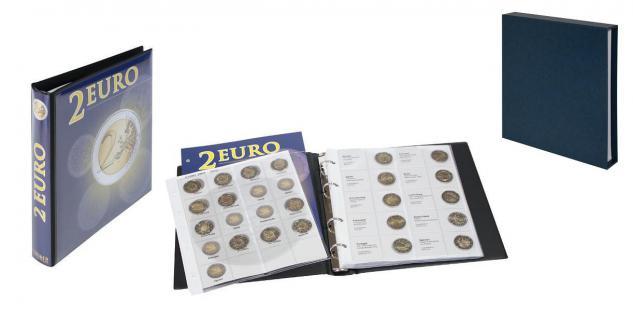 LINDNER SET 1118M 2 Euro Münzalbum Vordruckalbum + 9 Karat Blätter K3 + Vordrucke 2002 bis Spanien 2012 + Kassette 810D-B in Blau