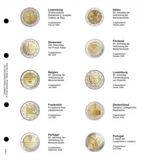 LINDNER 1118-4 Vordruckblatt + K3 Karat Blatt - 2 EURO Gedenkmünzen chronologisch ab Luxemburg 2008 - Portugal 2009