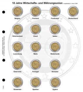 1 x LINDNER 1118-5 Vordruckblatt + K3 Karat Blatt - 2 EURO Gedenkmünzen chronologisch 10 Jahre WWU
