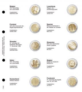 1 x LINDNER 1118-6 Vordruckblatt + K3 Karat Blatt - 2 EURO Gedenkmünzen chronologisch ab Belgien 2009 - Frankreich 2010