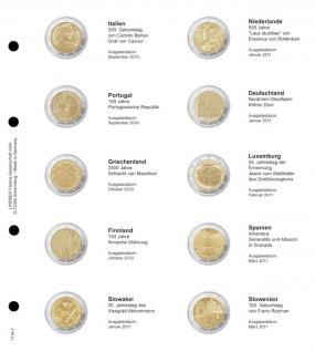 1 x LINDNER 1118-7 Vordruckblatt + K3 Karat Blatt - 2 EURO Gedenkmünzen chronologisch ab Italien 2010 - Slowenien 2011