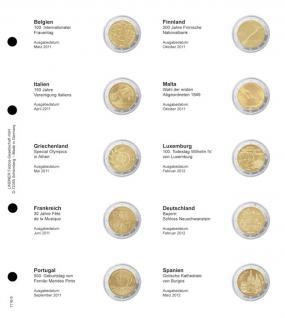 1 x LINDNER 1118-9 Vordruckblatt + K3 Karat Blatt - 2 EURO Gedenkmünzen chronologisch ab Belgien 2011 - Spanien 2012