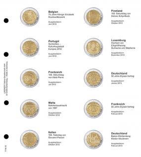 1 x LINDNER 1118-10 Vordruckblatt + K3 Karat Blatt - 2 EURO Gedenkmünzen chronologisch ab Belgien 2012 - Deutschland 2013