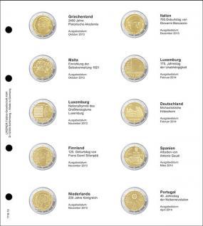 1 x LINDNER 1118-12 Vordruckblatt + K3 Karat Blatt - 2 EURO Gedenkmünzen chronologisch ab Griechenland 2013 - Portugal 2014