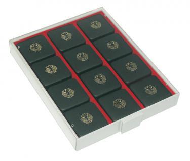 LINDNER 2463 Rauchglas Sammelboxen Münzboxen mit Dunkelroten Einlagen und 8 Stegen für 100 Deutsche Gold Euro im Originaletui