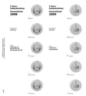 1 LINDNER 1505-2 Vordruckblatt + K3 Karat Blatt - 2 EURO Deutsche Bundesländer Hamburg / Saarland 2008 - 2009 - Vorschau 1