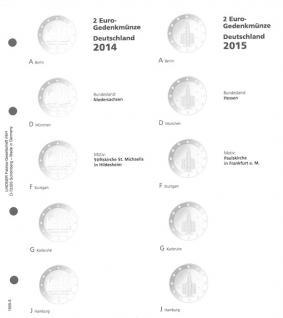 1 x LINDNER 1505-5 Vordruckblatt + K3 Karat Blatt - 2 EURO Deutsche Bundesländer Niedersachsen Dom Hildesheim - Hessen 2014 - 2015