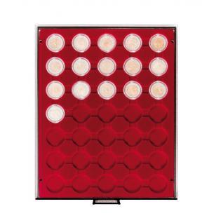 LINDNER 2930 R Rauchglas Münzbox Münzboxen 35 x 32 mm 2 EURO 50 EURO Cent in Münzkapseln