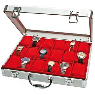 SAFE 266-1 ALU Uhrenkoffer DIAMANT XXL ROT 18 Fächer + Uhrenhaltern glasklarem Sichtfenster für Damen Herren Schmuck Armbanduhren - Vorschau 2