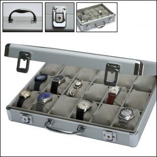 SAFE 266-1 ALU Uhrenkoffer DIAMANT XXL ROT 18 Fächer + Uhrenhaltern glasklarem Sichtfenster für Damen Herren Schmuck Armbanduhren - Vorschau 3