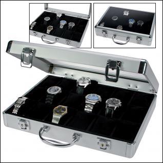 SAFE 266-3 ALU Uhrenkoffer DIAMANT XXL SCHWARZ 18 Fächer + Uhrenhaltern glasklarem Sichtfenster Damen Herren Schmuck Armbanduhren