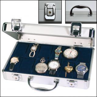 SAFE 265 ALU Uhrenkoffer KLASSIK BLAU für 12 Uhren + Uhrenhaltern Damen Herren Armbanduhren Schmuck Antiquitäten