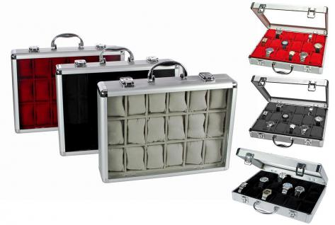 3x SAFE 266 ALU Uhrenkoffer ROT SAND SCHWARZ - 54 Fächer & Uhrenhaltern glasklarem Fenster für Damen Herren Schmuck Armbanduhren