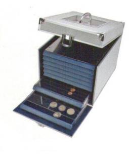 SAFE 6312 ALU Nova Münzkoffer Münzboxkoffer (leer) für 8 x Münzboxen - Schubladenelemente