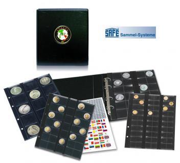 """SAFE 7405 PREMIUM MÜNZALBUM ITALIEN """" LIRA """" mit Münzblättern 2x 7392 & 2x 7393 für Münzen bis 34 mm"""