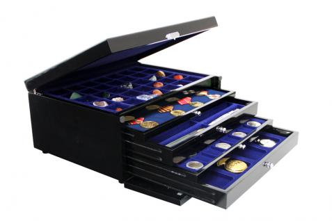 1 x SAFE 5947-1 Schwarze Schubladen blaue Einlagen 24 Fächer bis 47 mm Ideal für 1 Dollar US Silver Eagle in Münzkapseln - Vorschau 4