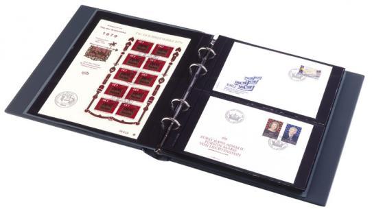 LINDNER 3532BN - B Blau Sammelalbum Album PUBLICA M Ringbinder + Schutzkassette 20 Hüllen MU1404 Für bis zu 80 Postkarten Banknoten - Vorschau 3
