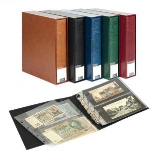 LINDNER 3532BN - B Blau Sammelalbum Album PUBLICA M Ringbinder + Schutzkassette 20 Hüllen MU1404 Für bis zu 80 Postkarten Banknoten - Vorschau 1