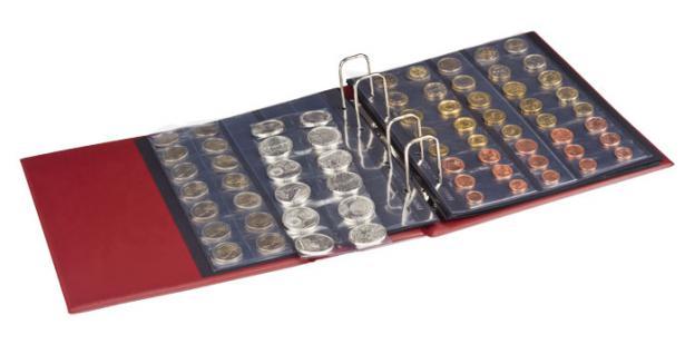 LINDNER 3107 - S Schwarzes Münzalbum Ringbinder HALF PENNY + 10 x MU Münzblätter Mixed + rote Zwischenblätter ZWL für über 300 Münzen - Vorschau 3