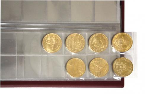 LINDNER 3107 - S Schwarzes Münzalbum Ringbinder HALF PENNY + 10 x MU Münzblätter Mixed + rote Zwischenblätter ZWL für über 300 Münzen - Vorschau 4