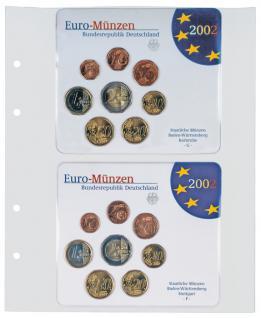 10 X LINDNER MU1362 Multi Collect Münzblätter 2 Taschen 145 x 123 mm Deutsche Euro Kursmünzensätze ST - Vorschau 1