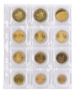 5 x LINDNER MU12 Multi Collect Münzblätter / Münzhüllen 12 Taschen 50 x 50 mm + schwarze ZWL für Münzrähmchen Octos Münzkapseln