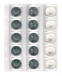 5 x LINDNER MU15 Multi Collect Münzblätter / Münzhüllen 15 Taschen für Münzen bis 42 x 42 mm + schwarzen ZWL - Vorschau 1
