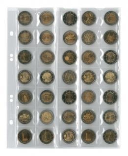 5 x LINDNER MU35R Multi Collect Münzblätter Münzhüllen 35 Taschen für Münzen bis 27 x 27 mm + roten ZWL Ideal für 2 Euro - Vorschau 1