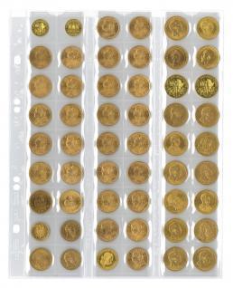 5 x LINDNER MU54R Multi Collect Münzblätter Münzhüllen 54 Taschen für Münzen bis 27 x 27 mm + roten ZWL - Vorschau 1