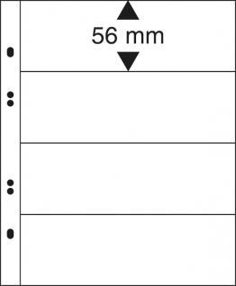 10 x LINDNER MU1324 Glasklare Multi Collect Einsteckblätter 4 Taschen / Streifen 56 x 253 mm für Briefmarken & Banknoten