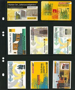 10 LINDNER MU1353 Schwarze Multi Collect Einsteckblätter 8 Felder MIxed Telefonkarten & Markenheftchen - Vorschau 1