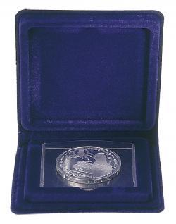 LINDNER 2020 Blaues Münzetui Münzen Etui inklusive Münztasche für Münzen bis 40 mm