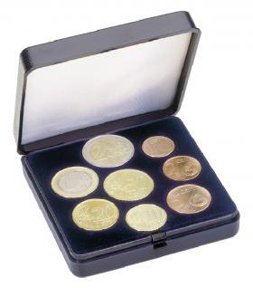 LINDNER 2026 Blaues Münzetui Münzen Etui für Euro Kursmünzensatz von 1 Cent - 2 Euro Münzen
