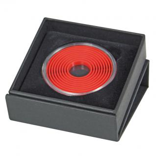 LINDNER 2074 EXPO-4 Design Münzetuis Münzen Etuis mit Magnetverschluß und Münzkapsel 2231 mit hellrotem Inletts 16 - 51 mm