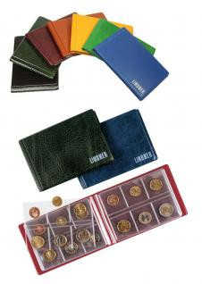 LINDNER 2070E Taschenmünzalbum Taschen Münzalbum mit 8 Seiten für 48 Münzen bis 40 mm diverse Farben