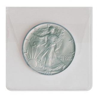 100 LINDNER 8476 Grosse Münzhüllen Münztaschen Münzenhüllen glasklare PVC Folie für Münzen bis 60 mm - Vorschau