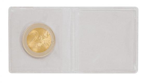 100 LINDNER 2054 Doppelmünzhüllen Doppel Münztaschen Münzenhüllen klare Folie für Münzen bis 40 mm - Vorschau