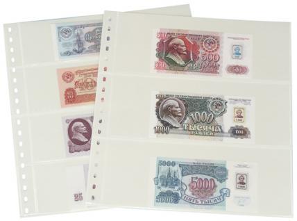 10 x LINDNER 831P Klarsichthüllen Banknotenhüllen 3 Taschen Streifen 240 x 90 mm mit weißen Zwischenblättern