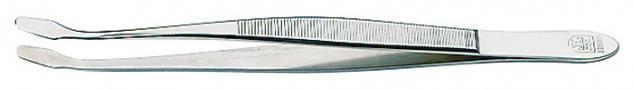 1 x LINDNER 2013 Pinzetten Briefmarkenpinzetten mit fein geschliffenen abgebogenen Schaufeln - 120 mm lang im Plastiketui
