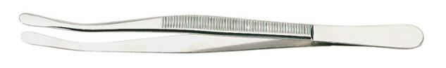 1 x LINDNER 2037 Pinzetten Briefmarkenpinzetten mit fein geschliffenen abgebogenen breiten Löffeln - 120 mm lang