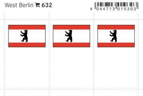 6 x LINDNER 632 West Berlin Flaggensticker Flaggen Signetten Sets zum aufkleben oder einstecken - Vorschau 1