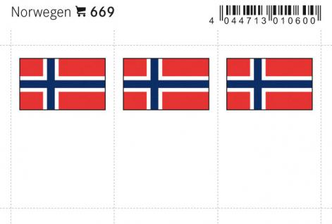 6 x LINDNER 669 Norwegen Flaggensticker Flaggen Signetten Sets zum aufkleben oder einstecken - Vorschau 1