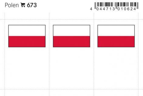 6 x LINDNER 673 Polen Flaggensticker Flaggen Signetten Sets zum aufkleben oder einstecken - Vorschau 1