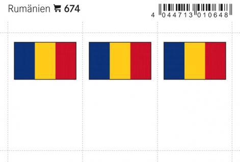 6 x LINDNER 674 Rumänien Flaggensticker Flaggen Signetten Sets zum aufkleben oder einstecken - Vorschau 1
