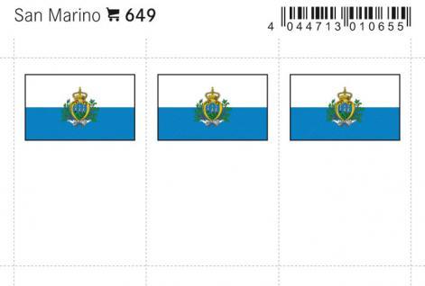 6 x LINDNER 649 San Marino Flaggensticker Flaggen Signetten Sets zum aufkleben oder einstecken